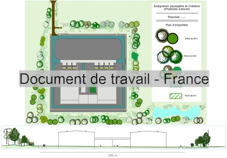 Esquisse de l'intégration paysagère du poste de conversion en France